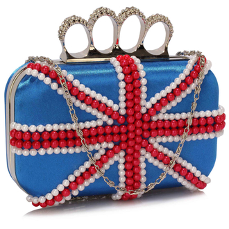 LSE00169 - Wholesale & B2B Blue Knuckle Rings Clutch With Crystal Decoration Supplier & Manufacturer