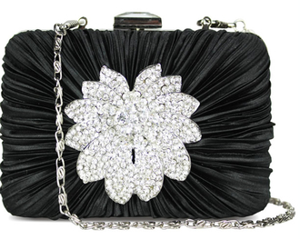 LSE006 - Black Gorgeous Crystal  Satin Rouched Brooch Hard Case Black Evening Bag