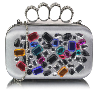 LSE00171 - Wholesale & B2B Silver  Knuckle Rings Clutch With Crystal Decoration Supplier & Manufacturer