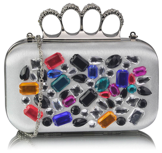 LSE00171 - Ivory  Knuckle Rings Clutch With Crystal Decoration