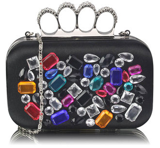 LSE00171 - Black Knuckle Rings Clutch With Crystal Decoration
