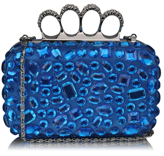 LSE00172 - Teal  Knuckle Rings Clutch With Crystal Decoration