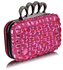 LSE00172 - Wholesale & B2B  Pink Knuckle Rings Clutch With Crystal Decoration Supplier & Manufacturer