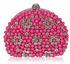 LSE00173 - Pink Beaded Pearl Rhinestone Clutch Bag