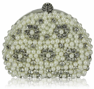LSE00173 - Wholesale & B2B Ivory  Beaded Pearl Rhinestone Clutch Bag Supplier & Manufacturer