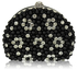 LSE00173 - Black  Beaded Pearl Rhinestone Clutch Bag