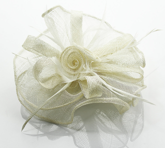 LSH0080- Ivory Feather & Flower Fascinator on Comb