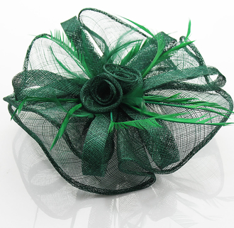 LSH0080- Green Feather & Flower Fascinator on Comb