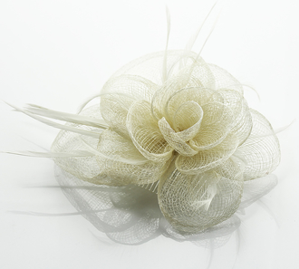 LSH0072- Ivory Feather & Flower Fascinator on Comb