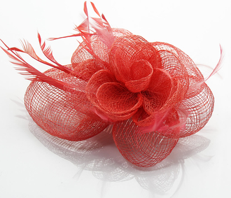 LSH0072- Coral Feather & Flower Fascinator on Comb