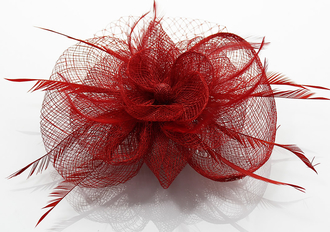 LSH0076- Red Feather & Flower Fascinator on Comb