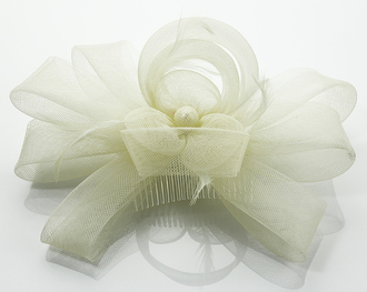 LSH0085- Beige Feather & Flower Fascinator on Comb