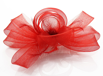 LSH0085- Red Feather & Flower Fascinator on Comb