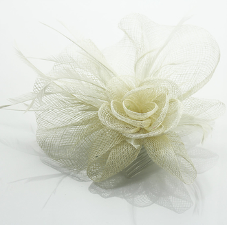 LSH0070A- Beige Feather & Flower Fascinator on Comb