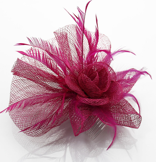 LSH0070A- Fuchsia Feather & Flower Fascinator on Comb