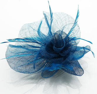 LSH0070A- Teal Feather & Flower Fascinator on Comb