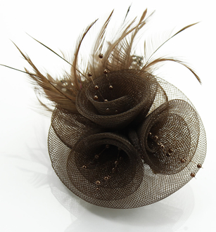 LSH0089- Coffee Feather & Flower Fascinator