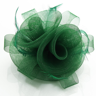 LSH0090- Green Feather & Flower Fascinator