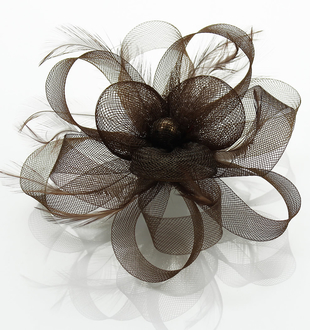 LSH0088- Coffee Feather & Flower Fascinator