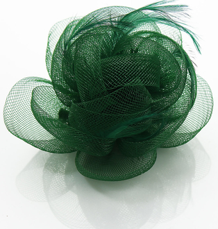 LSH0091- Green Feather & Flower Fascinator