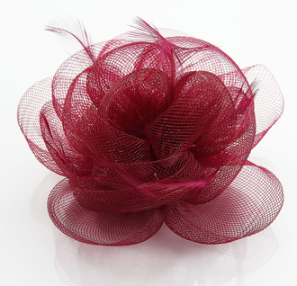 LSH0091- Wine Red Feather & Flower Fascinator