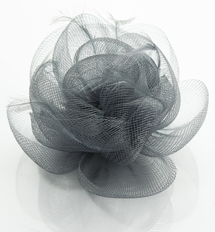 LSH0091- Grey Feather & Flower Fascinator