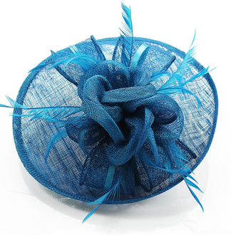 LSH0082 - Teal Mesh Hat Feather Fascinator