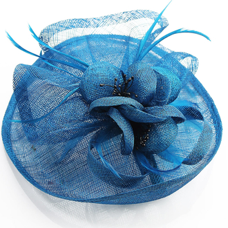 LSH0083 - Teal Mesh Hat Feather Fascinator