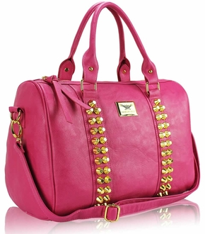 LS00240 - L.S Fashion Pink Stunning  Studded Barrel Bag With Long Strap