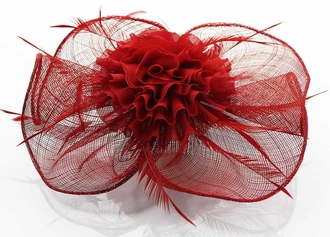 LSH0078- Red Feather & Flower Fascinator