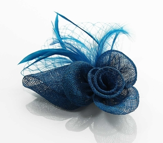 LSH0093- Teal Feather & Mesh Flower Fascinator on Comb