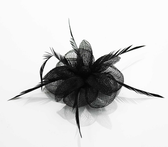 LSH0095- Black Feather & Mesh Flower Fascinator on Clip