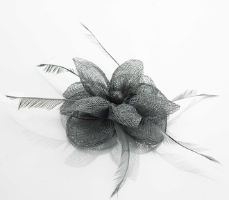 LSH0095- Grey Feather & Mesh Flower Fascinator on Clip
