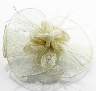 LSH0071- Ivory Feather & Mesh Flower Fascinator on Clip