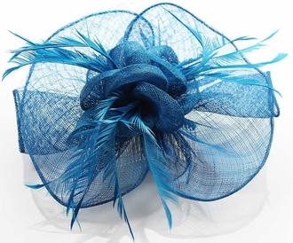 LSH0071- Teal Feather & Mesh Flower Fascinator on Clip