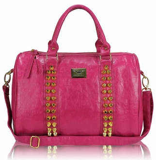 LS00240A -  Pink Stunning Studded Barrel Bag With Long Strap