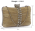 LSE0049 - Gorgeous Nude Crystal Strip Clutch Evening Bag