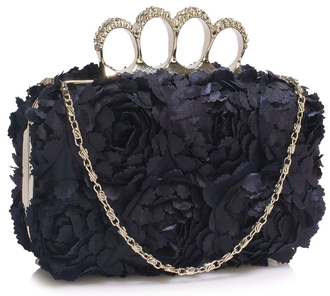 LSE00145- Navy Women's  Knuckle Rings Evening Bag