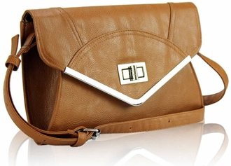 LSE00174 - Brown Flapover Clutch Purse
