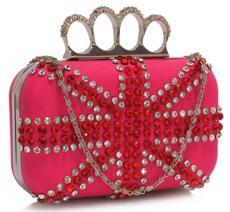 LSE00177- Pink Women's Knuckle Rings Evening Bag