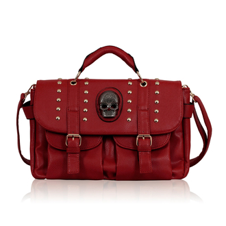 LS00229 - Red Skull Studs Shoulder Handbag