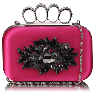 LSE00178- Wholesale & B2B Fuchsia Women's Knuckle Rings Evening Bag Supplier & Manufacturer