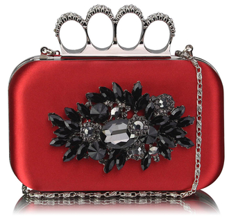 LSE00178- Wholesale & B2B Red Women's Knuckle Rings Evening Bag Supplier & Manufacturer