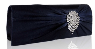 LSE0077 - Navy Ruched Satin Clutch With Crystal Flower