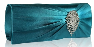 LSE0077 - Turquoise Ruched Satin Clutch With Crystal Flower