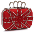 LSE00177- Red Women's Knuckle Rings Evening Bag