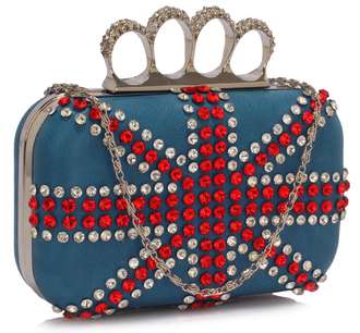 LSE00177- Blue Women's Knuckle Rings Evening Bag