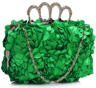 LSE00145- Green Women's Knuckle Rings Evening Bag