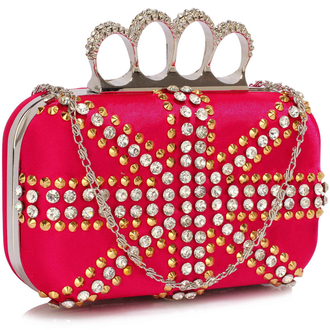 LSE00176- Wholesale & B2B Fuchsia Women's Knuckle Rings Evening Bag Supplier & Manufacturer