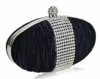 LSE0044 - Navy Ruched Satin Clutch With Crystal Trim